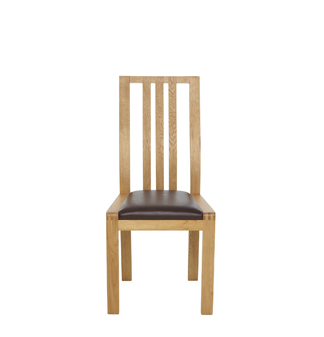 dining chair - brown faux leather