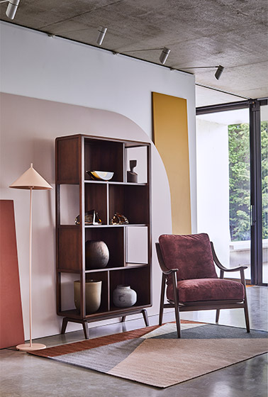 Lugo open shelving unit and Marino chair