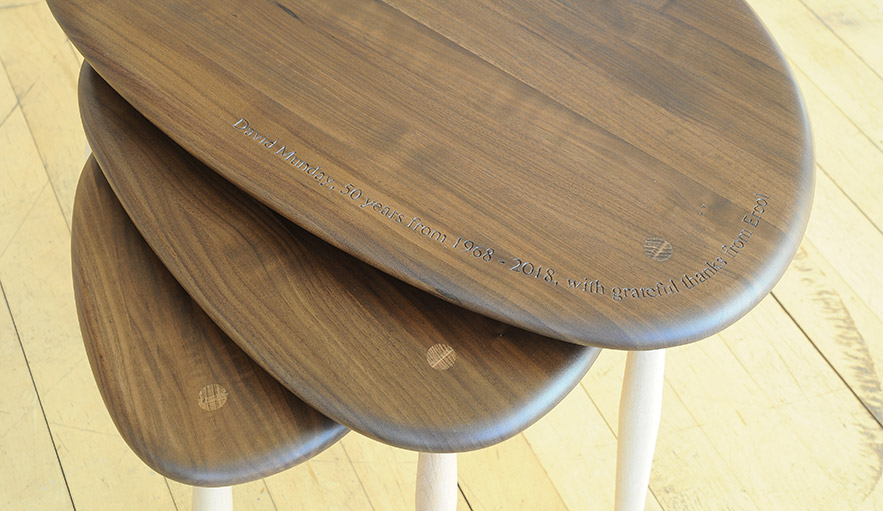 Dave Munday's engraved ercol nest of tables